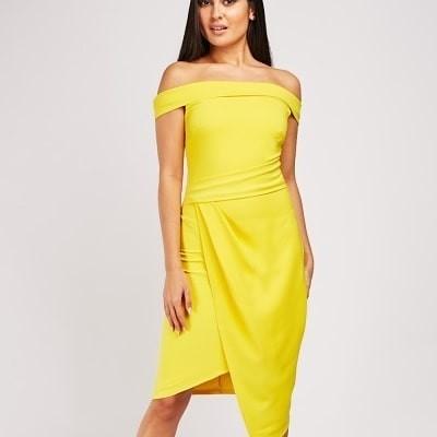Off Shoulder Dress  - Yellow