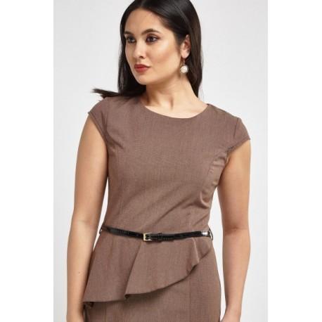 Peplun Office Dress - Brown