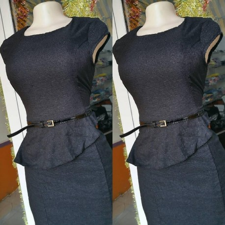 Peplun Office Dress - Charcoal