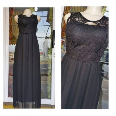 Bodice Long Dress - Black
