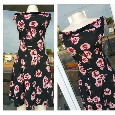 Off Shoulder Floral Dress - Black