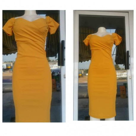Off Shoulder Dress  - Orange