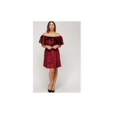 Off Shoulder Velveteen Dress