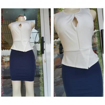 Dress - White & Navy