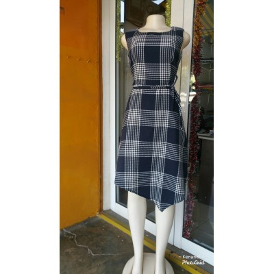 Checked Flare Dress-Blue