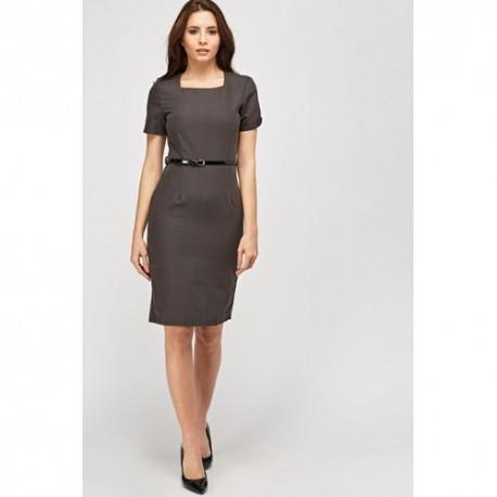 Short Sleeve Formal Dress - Charcoal