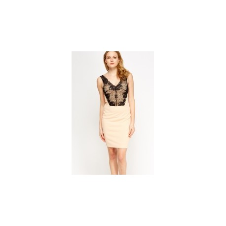 Lace Up Bodycon Dress - Nude
